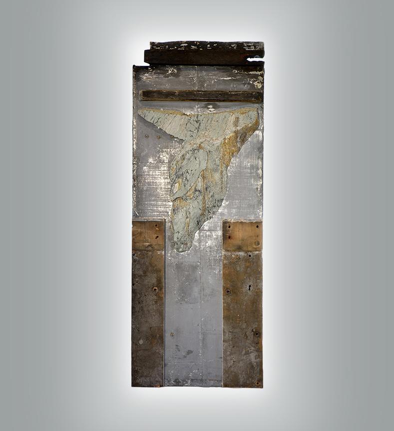 Quarry Angel, 2016, Mixed media, on antique door with light, 92 x 35 in.