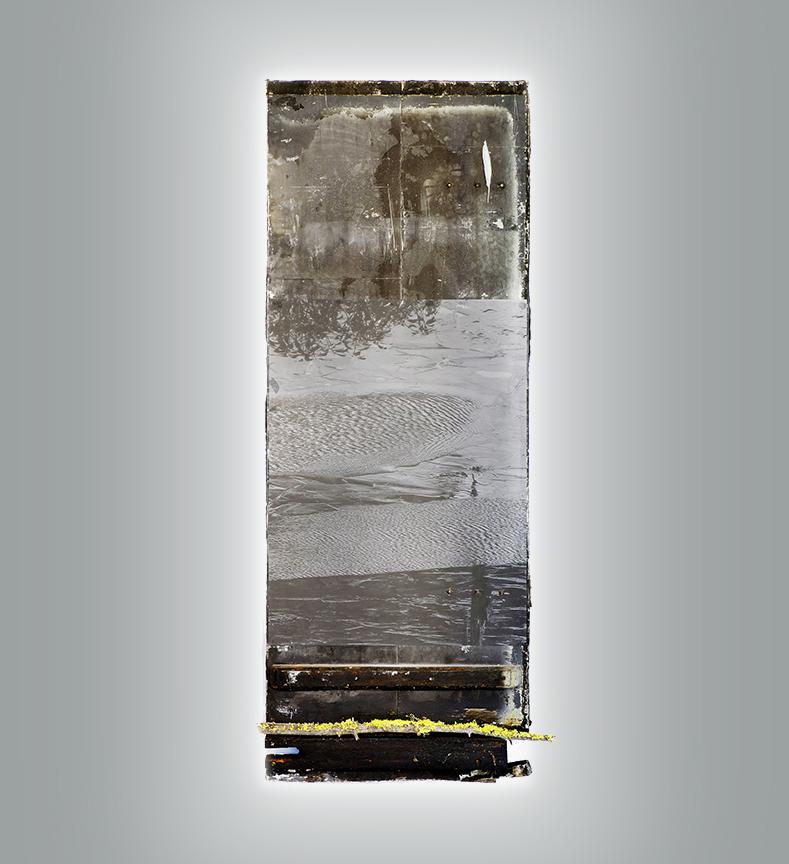 Ephemeral, 2016, Mixed media, on antique door with light, 92 x 35 in.