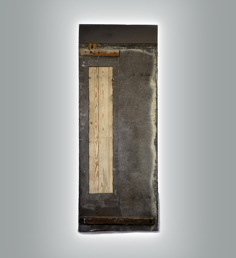 Beneath the Surface, 2016, Mixed media, on antique door with light, 92 x 35 in.