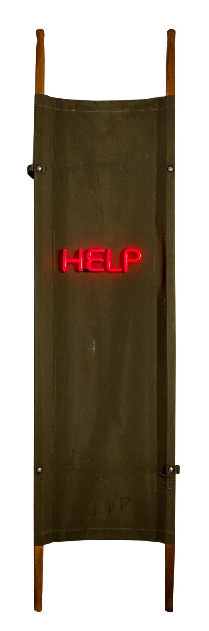 HELP, 2016, Neon on Stretcher, 89.5 x 22.5 x 7.75 in.