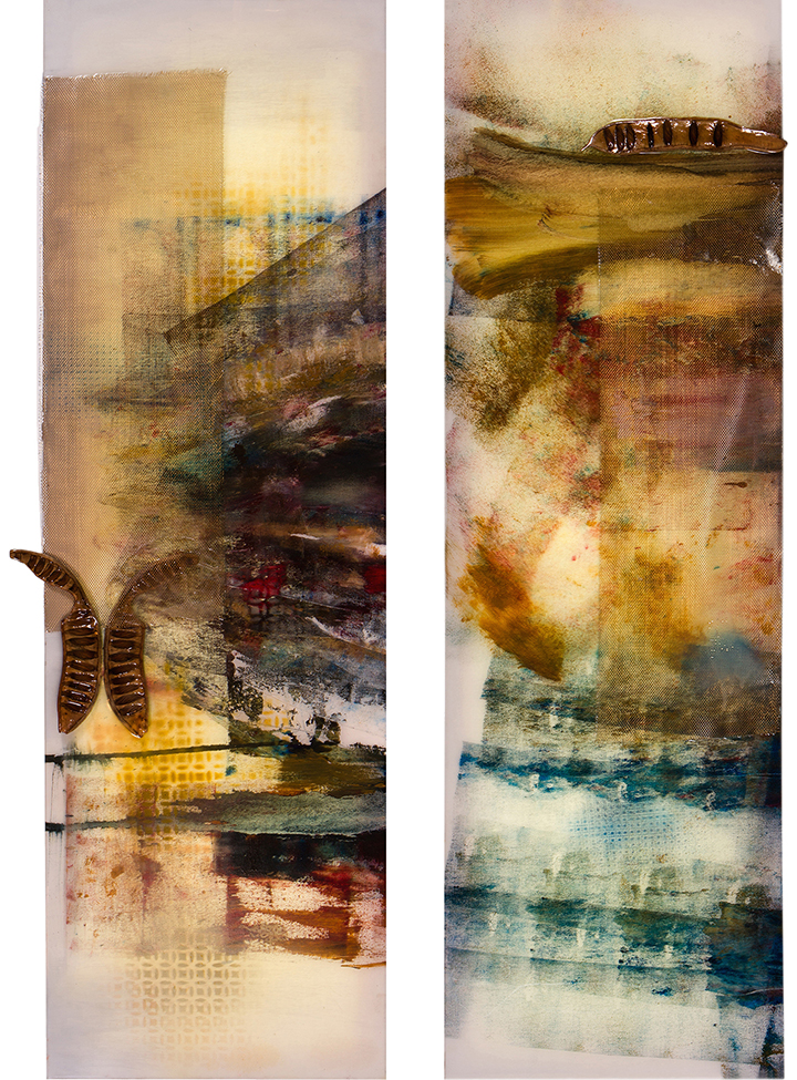 "Pyramid Light I and II, diptych, 2014, Mixed media, 14.75 x 47.25"" each"