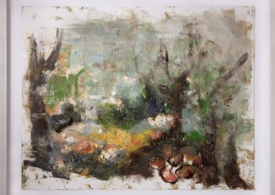 Forks of the Kern, 2011, Oil on paper and found objects,	28.5 x 34 in.