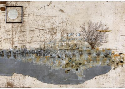 Pond Reflections, 2012, Oil on wood and found, objects and resin	49.5 x 84.5 in.